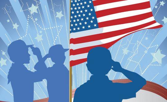 Boys saluting American Flag