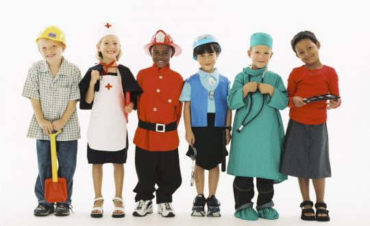 Children in occupational costumes