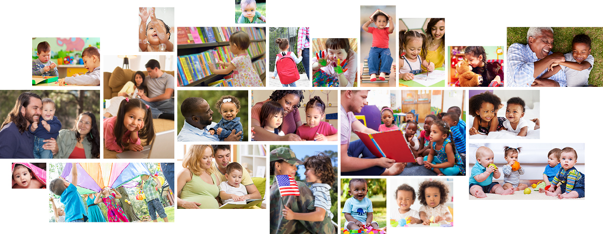 Collage image of families, toddlers and preschoolers. Make a donation to the Partnership.