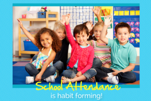 School Attendance Awareness Month is habit forming! Preschoolers seated on a rug, raising their hands.
